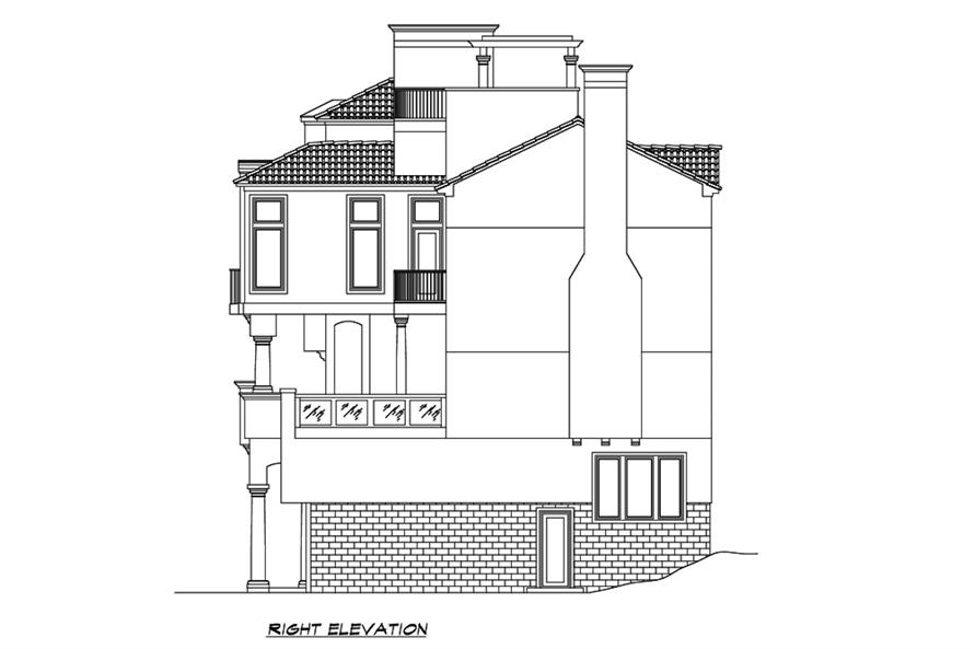Home Plan Right Elevation of this 4-Bedroom,4225 Sq Ft Plan -195-1192