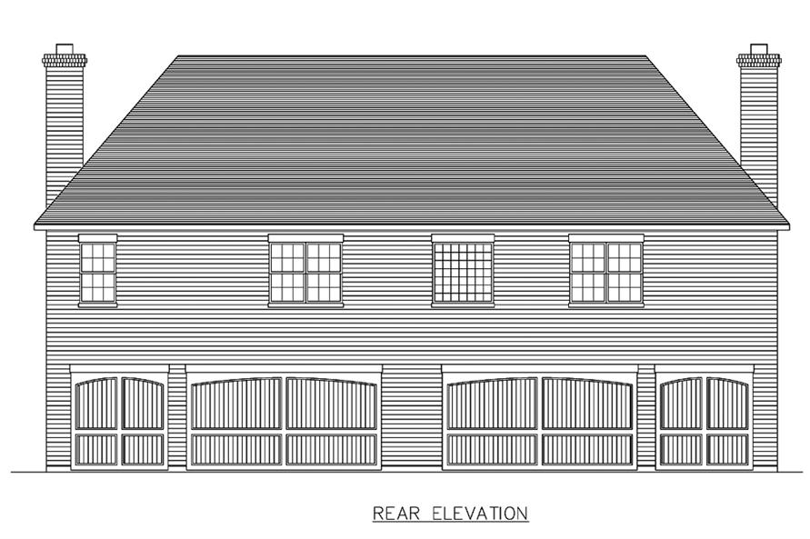 Home Plan Rear Elevation of this 8-Bedroom,7416 Sq Ft Plan -195-1193