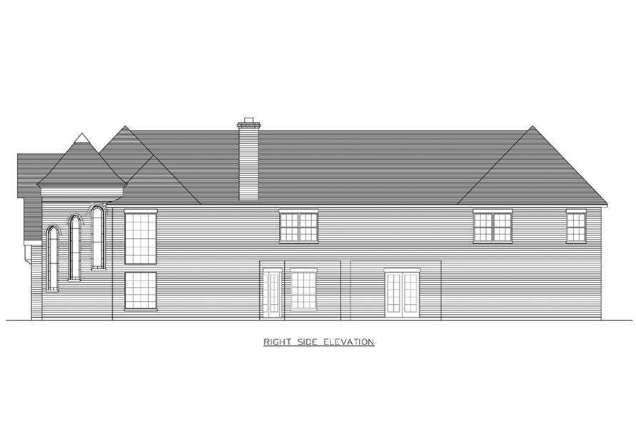 Home Plan Right Elevation of this 8-Bedroom,7416 Sq Ft Plan -195-1193