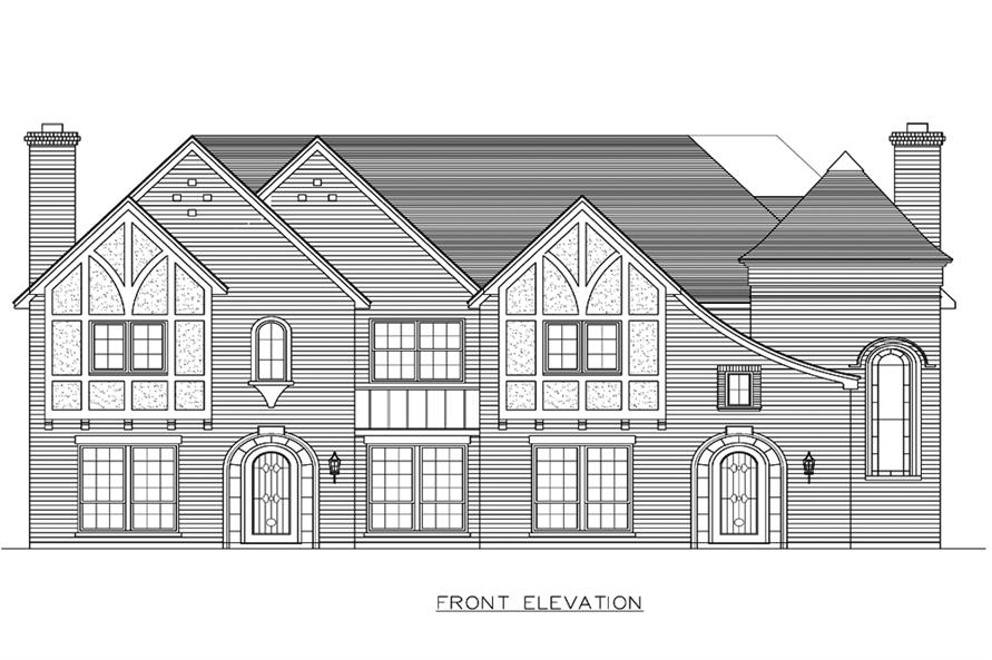 Home Plan Front Elevation of this 8-Bedroom,7416 Sq Ft Plan -195-1193
