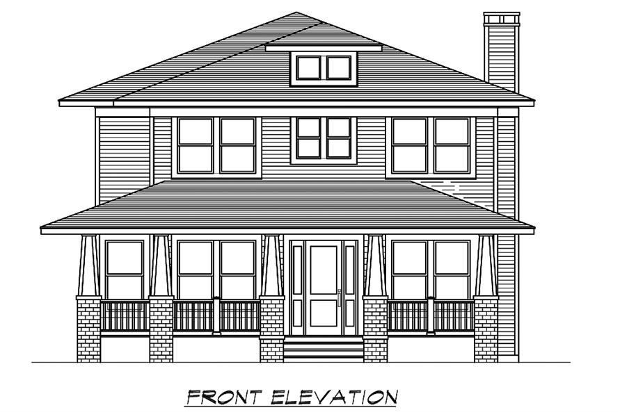 Home Plan Front Elevation of this 4-Bedroom,3245 Sq Ft Plan -195-1195