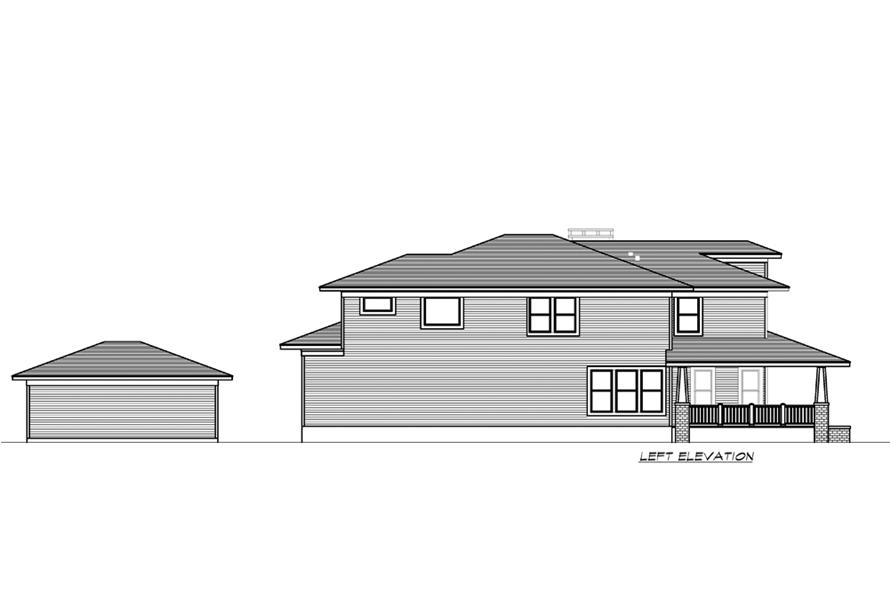 Home Plan Left Elevation of this 4-Bedroom,3245 Sq Ft Plan -195-1195