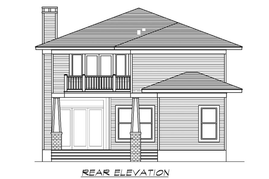 Home Plan Rear Elevation of this 4-Bedroom,3245 Sq Ft Plan -195-1195