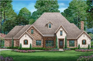 4-Bedroom, 3010 Sq Ft Tudor Home Plan - 195-1201 - Main Exterior