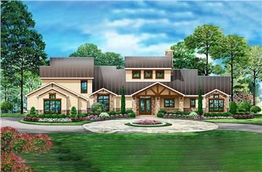 4-Bedroom, 3990 Sq Ft Craftsman Home Plan - 195-1207 - Main Exterior