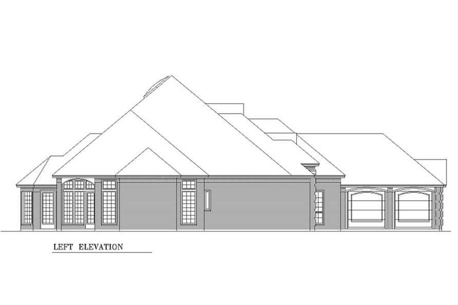 Home Plan Left Elevation of this 2-Bedroom,2867 Sq Ft Plan -195-1208