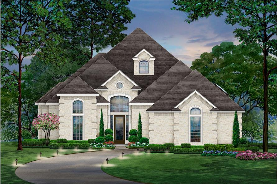 2-Bedroom, 2867 Sq Ft Tudor House Plan - 195-1208 - Front Exterior