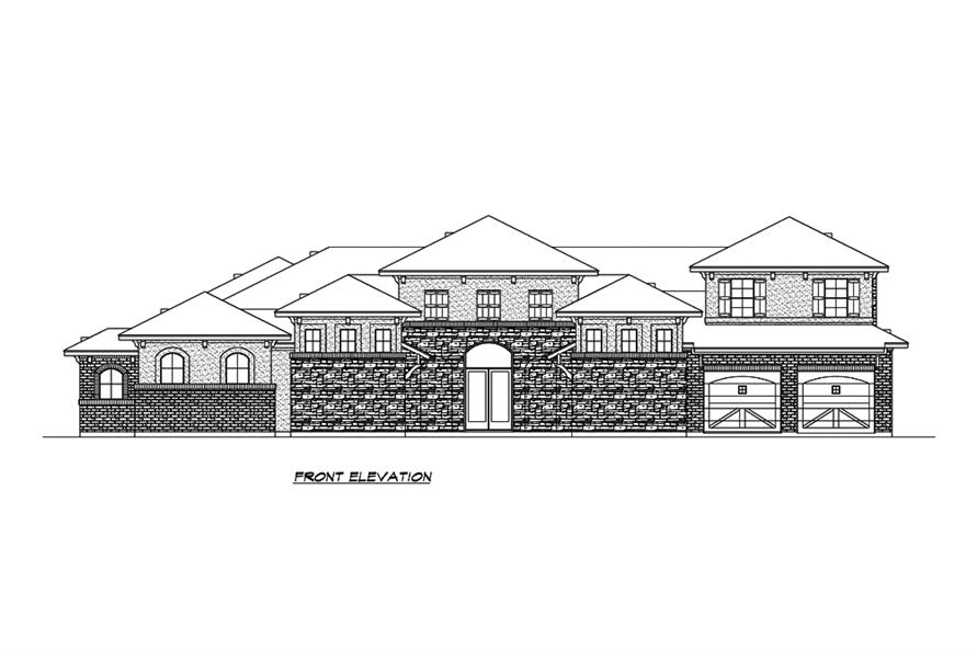 Home Plan Front Elevation of this 3-Bedroom,3084 Sq Ft Plan -195-1213