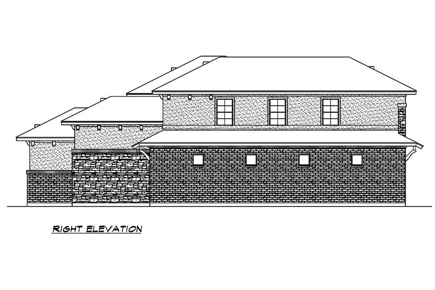 Home Plan Right Elevation of this 3-Bedroom,3084 Sq Ft Plan -195-1213