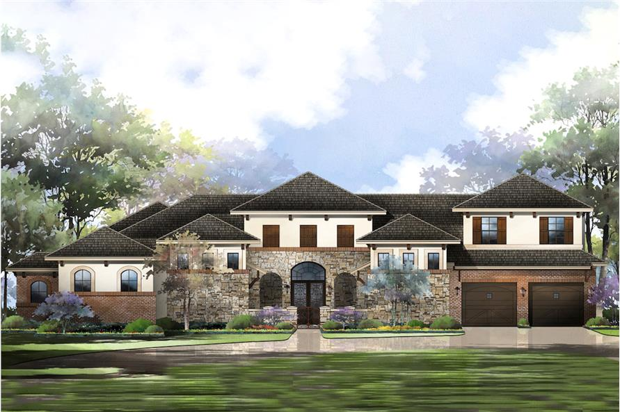 3-Bedroom, 3084 Sq Ft Mediterranean House Plan - 195-1213 - Front Exterior