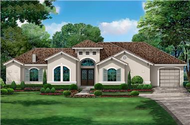 4-Bedroom, 3153 Sq Ft Mediterranean House Plan - 195-1214 - Front Exterior