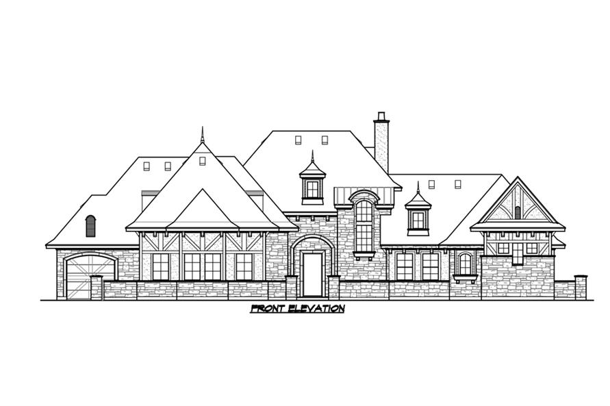 Home Plan Front Elevation of this 5-Bedroom,5295 Sq Ft Plan -195-1215