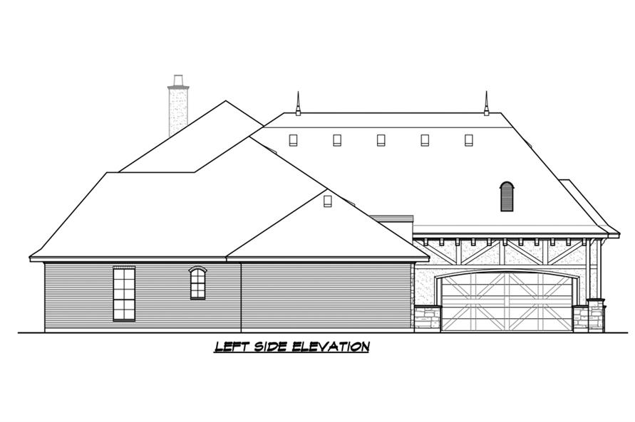 Home Plan Left Elevation of this 5-Bedroom,5295 Sq Ft Plan -195-1215