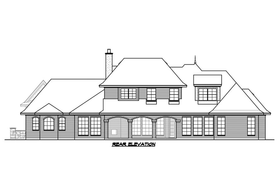 Home Plan Rear Elevation of this 5-Bedroom,5295 Sq Ft Plan -195-1215