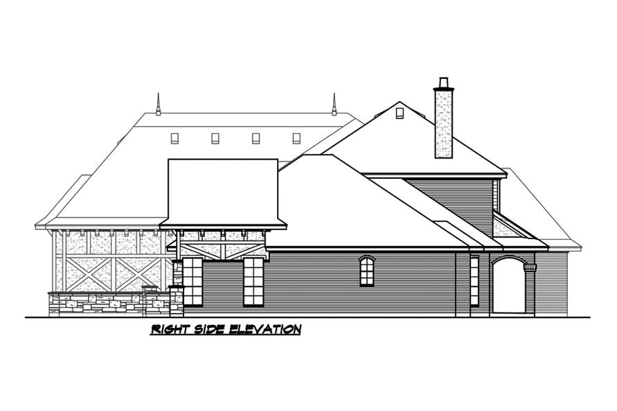 Home Plan Right Elevation of this 5-Bedroom,5295 Sq Ft Plan -195-1215