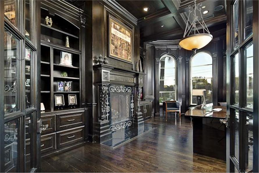 Home Office: Library of this 5-Bedroom,7587 Sq Ft Plan -7587