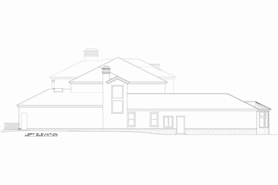 Home Plan Left Elevation of this 5-Bedroom,7587 Sq Ft Plan -195-1216