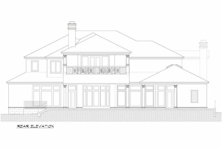 Home Plan Rear Elevation of this 5-Bedroom,7587 Sq Ft Plan -195-1216