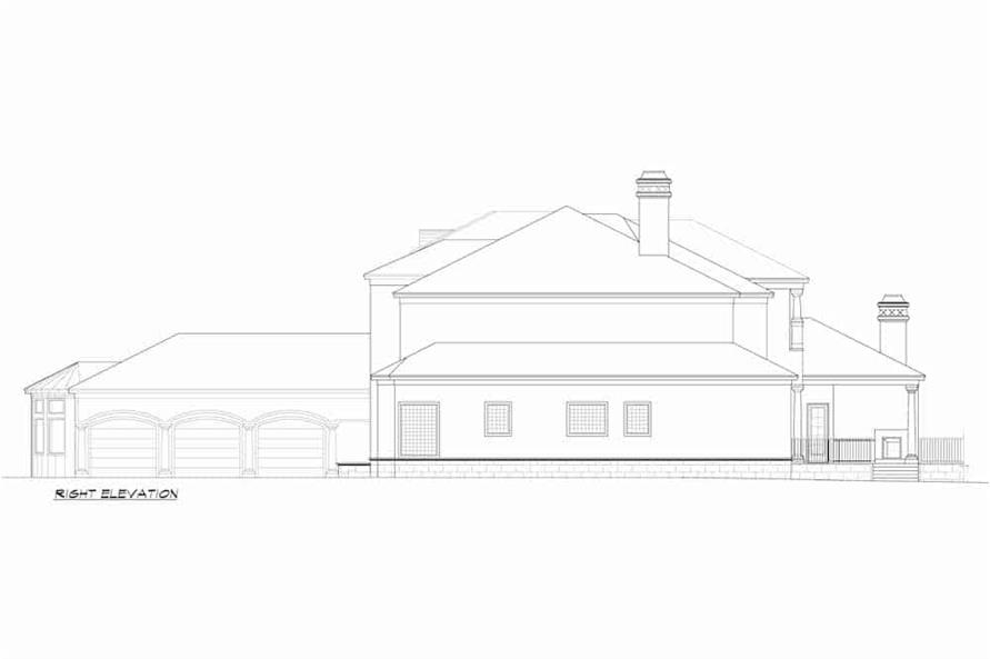 Home Plan Right Elevation of this 5-Bedroom,7587 Sq Ft Plan -195-1216