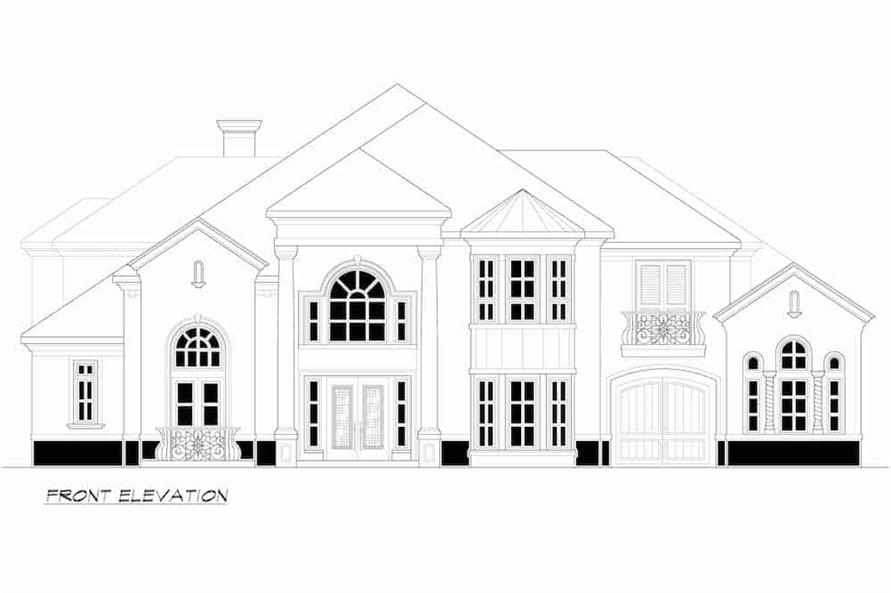 Home Plan Front Elevation of this 4-Bedroom,4998 Sq Ft Plan -195-1218