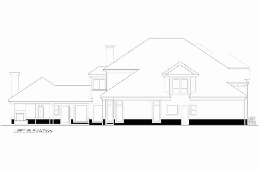 Home Plan Left Elevation of this 4-Bedroom,4998 Sq Ft Plan -195-1218