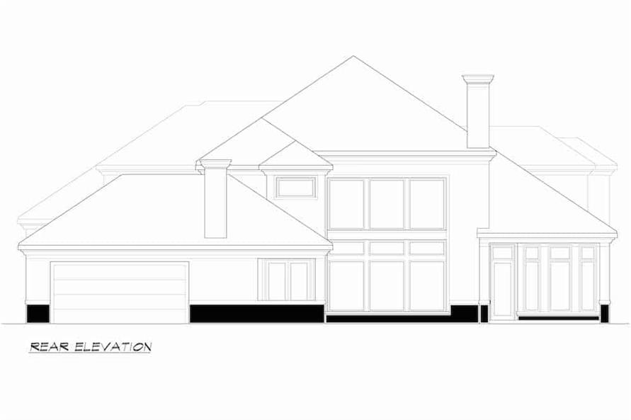 Home Plan Rear Elevation of this 4-Bedroom,4998 Sq Ft Plan -195-1218