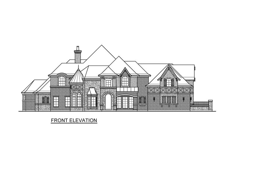 Home Plan Front Elevation of this 4-Bedroom,6868 Sq Ft Plan -195-1232
