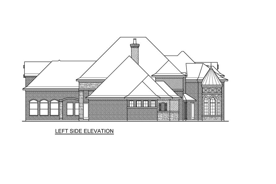 Home Plan Left Elevation of this 4-Bedroom,6868 Sq Ft Plan -195-1232