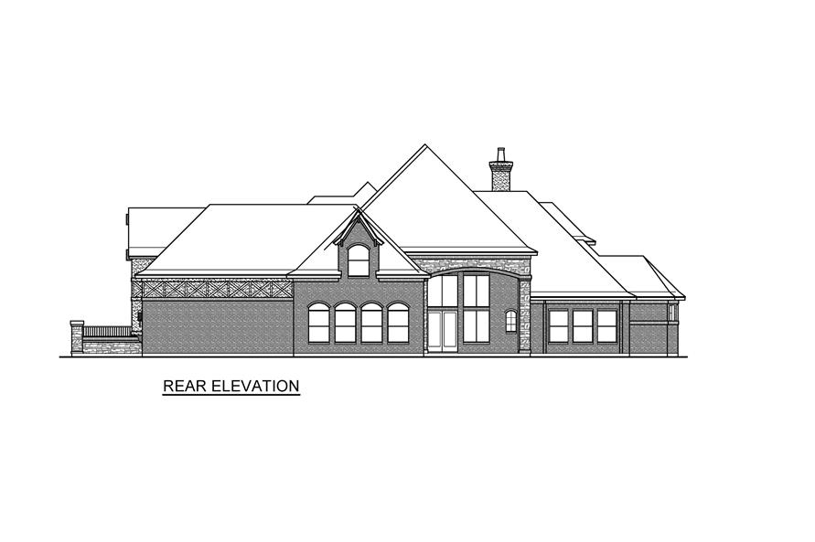 Home Plan Rear Elevation of this 4-Bedroom,6868 Sq Ft Plan -195-1232