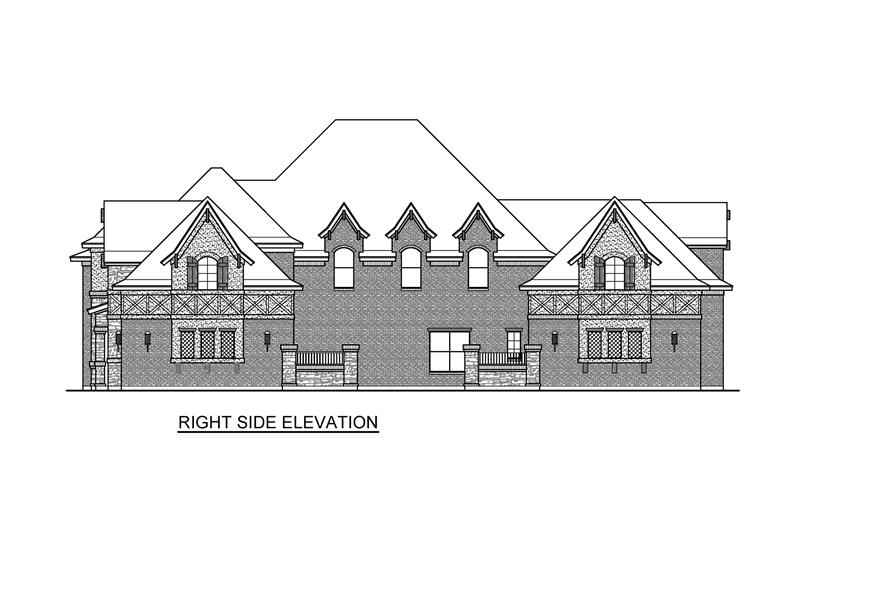 Home Plan Right Elevation of this 4-Bedroom,6868 Sq Ft Plan -195-1232