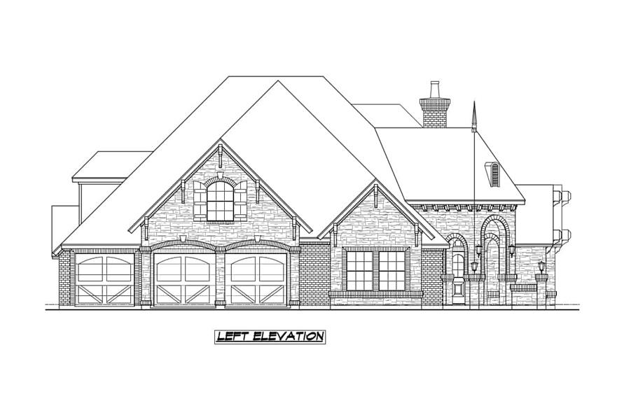Home Plan Left Elevation of this 4-Bedroom,3705 Sq Ft Plan -195-1236