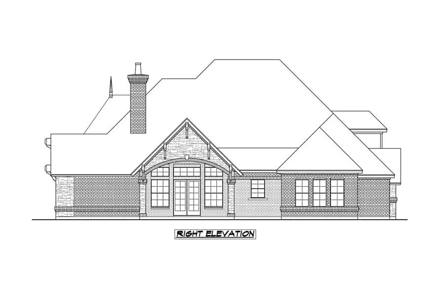 Home Plan Right Elevation of this 4-Bedroom,3705 Sq Ft Plan -195-1236