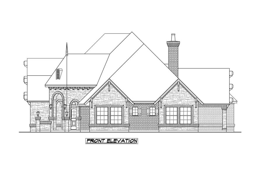 Home Plan Front Elevation of this 4-Bedroom,3705 Sq Ft Plan -195-1236