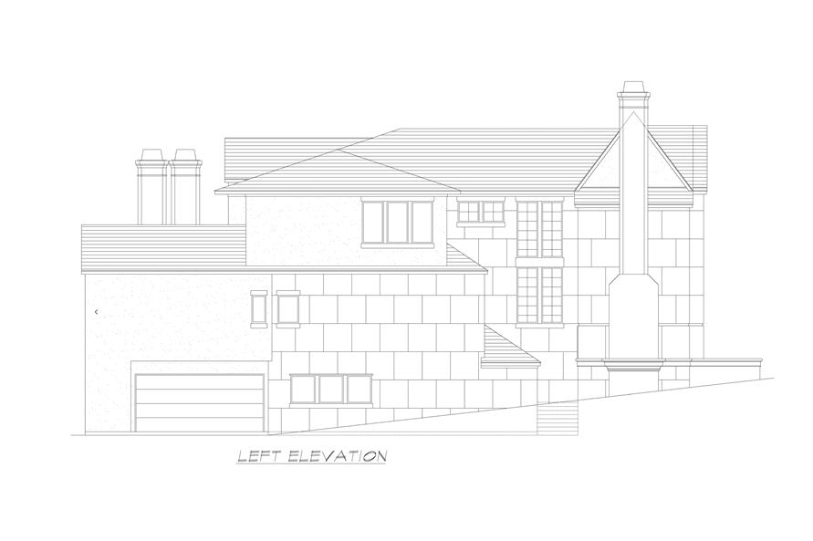 Home Plan Left Elevation of this 5-Bedroom,7918 Sq Ft Plan -195-1237
