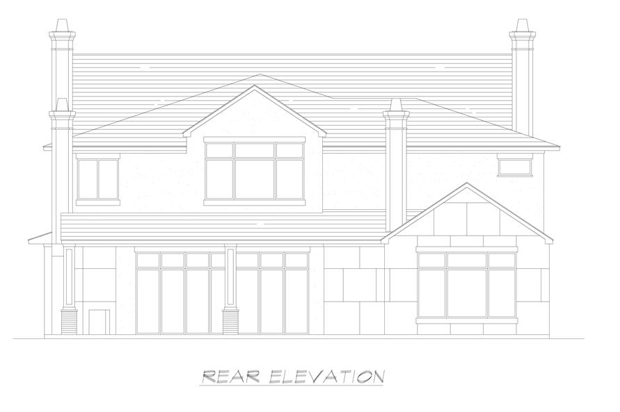 Home Plan Rear Elevation of this 5-Bedroom,7918 Sq Ft Plan -195-1237