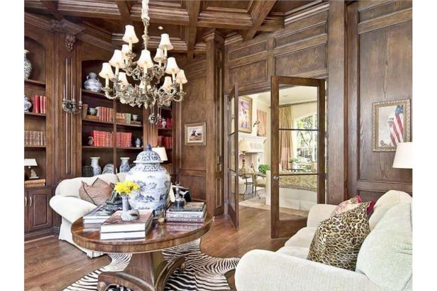 Home Office: Library of this 5-Bedroom,7700 Sq Ft Plan -195-1243