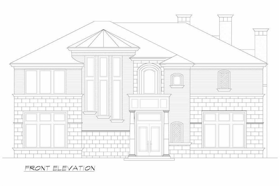 Home Plan Front Elevation of this 5-Bedroom,7700 Sq Ft Plan -195-1243