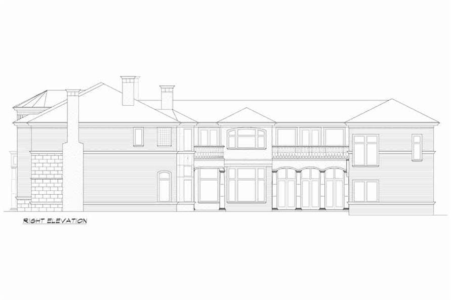 Home Plan Right Elevation of this 5-Bedroom,7700 Sq Ft Plan -195-1243