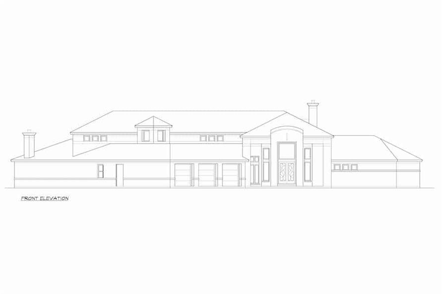 Home Plan Front Elevation of this 4-Bedroom,5199 Sq Ft Plan -195-1257