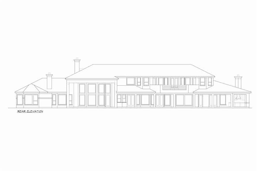 Home Plan Rear Elevation of this 4-Bedroom,5199 Sq Ft Plan -195-1257