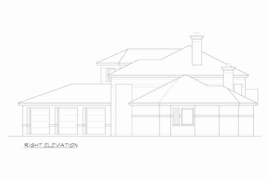 Home Plan Right Elevation of this 4-Bedroom,5199 Sq Ft Plan -195-1257