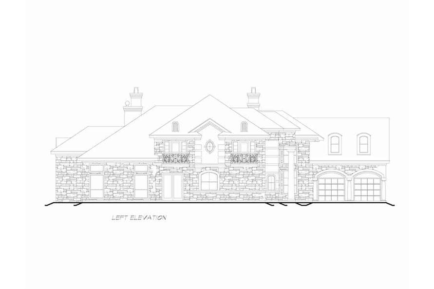 Home Plan Left Elevation of this 3-Bedroom,4416 Sq Ft Plan -195-1258
