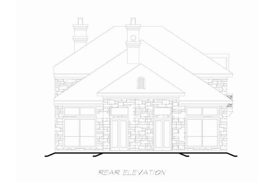 Home Plan Rear Elevation of this 3-Bedroom,4416 Sq Ft Plan -195-1258