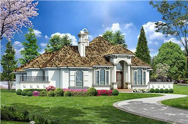 3-Bedroom, 4128 Sq Ft Mediterranean House - Plan #195-1262 - Front Exterior