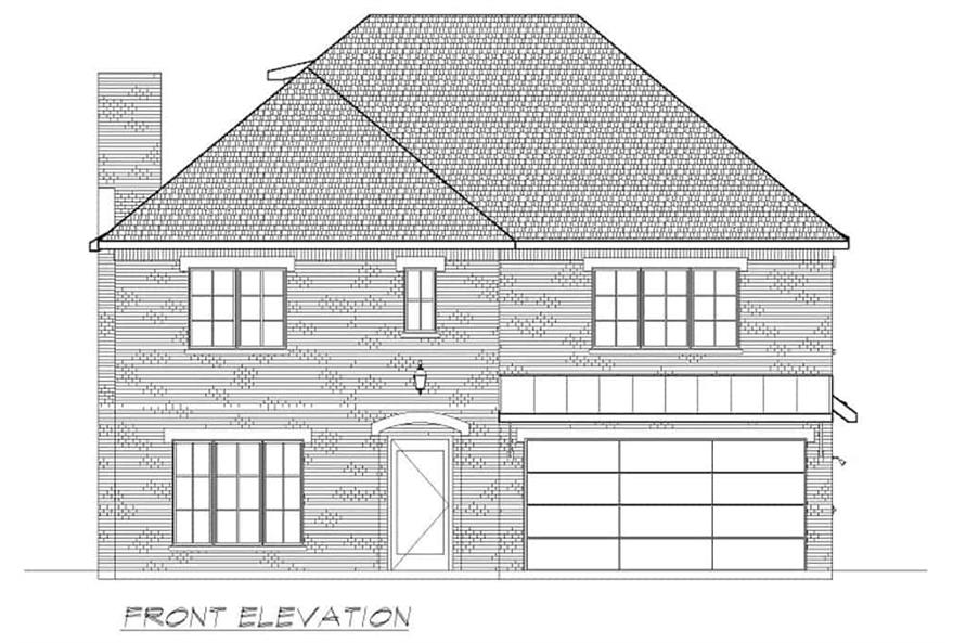 Home Plan Front Elevation of this 6-Bedroom,5618 Sq Ft Plan -195-1264