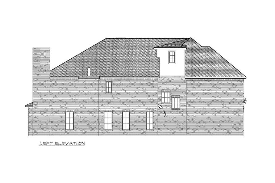 Home Plan Left Elevation of this 6-Bedroom,5618 Sq Ft Plan -195-1264