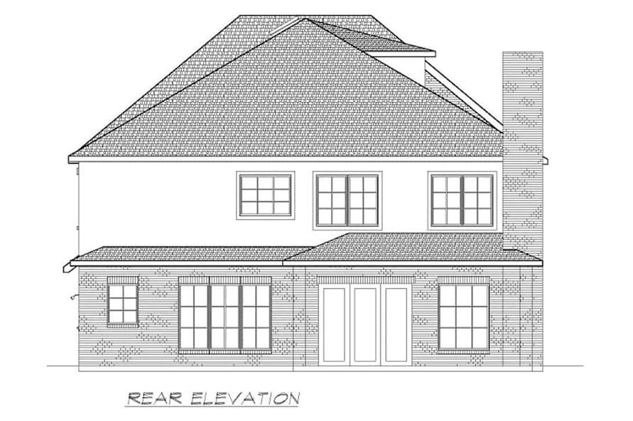 Home Plan Rear Elevation of this 6-Bedroom,5618 Sq Ft Plan -195-1264