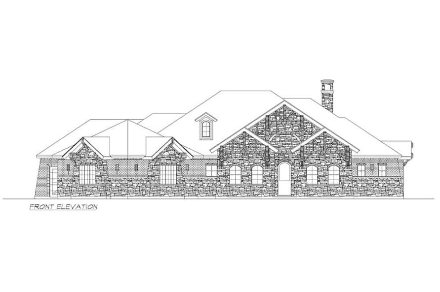 Home Plan Front Elevation of this 4-Bedroom,3065 Sq Ft Plan -195-1265