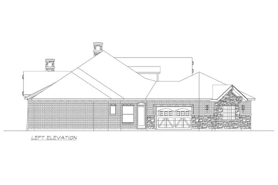 Home Plan Left Elevation of this 4-Bedroom,3065 Sq Ft Plan -195-1265