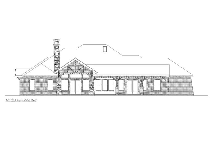 Home Plan Rear Elevation of this 4-Bedroom,3065 Sq Ft Plan -195-1265